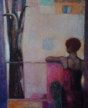 """At the window"" • 2008 • acrylic, oil on canvas • 150 x 120 cm • (private collection)"