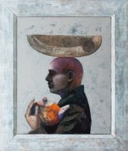 """Man with pitcher and melon"" • 2011 – 2012 • oil on canvas • 85 x 65 cm • (private collection)"