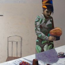 """""""Woman with citrus fruit"""" • 2011 • oil on canvas • 135 x 135 cm • (private collection)"""
