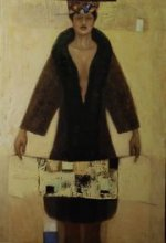 """""""Woman with overclothes"""" • 2008 • acrylic, oil on canvas • 150 x 120 cm • (private collection)"""