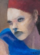 """""""Redhead in blue"""" • 2010 • oil on canvas • 33 x 24 cm • (private collection)"""