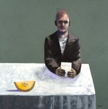 """""""Man with a melon"""" • 2011 • oil on canvas • 135 x 135 cm • (private collection)"""