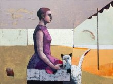 """Woman and porcelain cat"" • 2015 • oil on canvas • 120 x 160 cm • (private collection)"