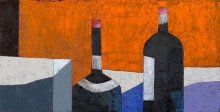 """Bottles"" • 2013 • oil on canvas • 31 x 60 cm • (private collection)"