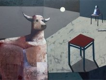 """Red tabouret"" • 2014 • oil on canvas • 120 x 160 cm"