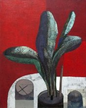 """""""The plant on red"""" • 2014 • oil on canvas • 100 x 80 cm • (private collection)"""
